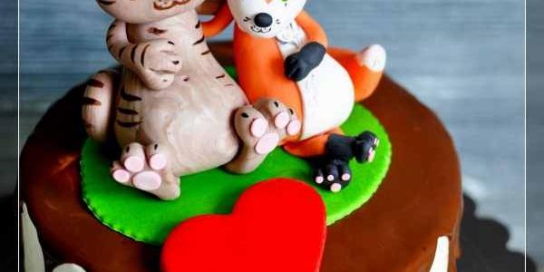 Торт с котом и лисичкой