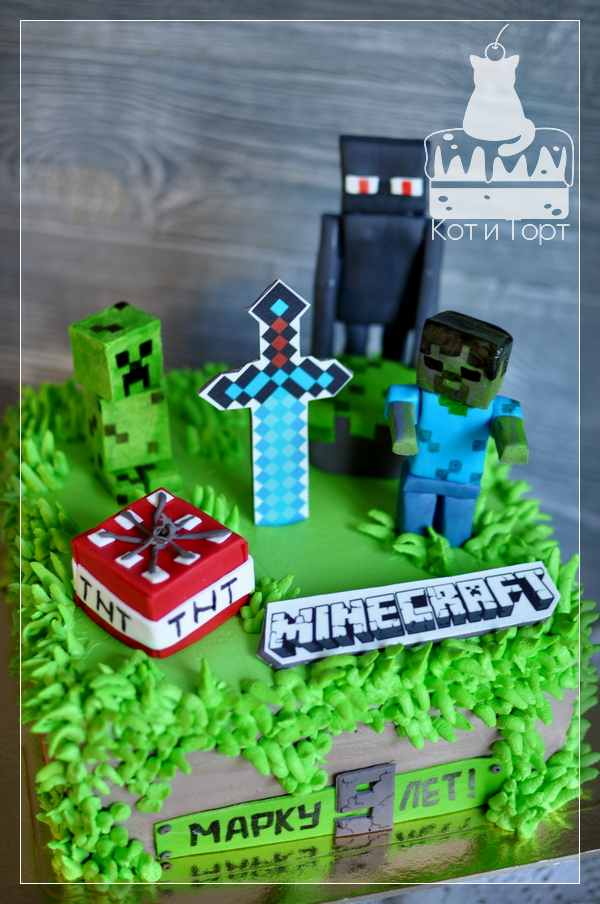 Зелёный торт Майнкрафт