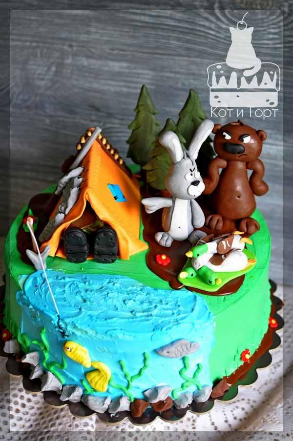 Шуточный торт для охотника-рыболова