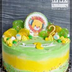 Зелёный торт с львёнком