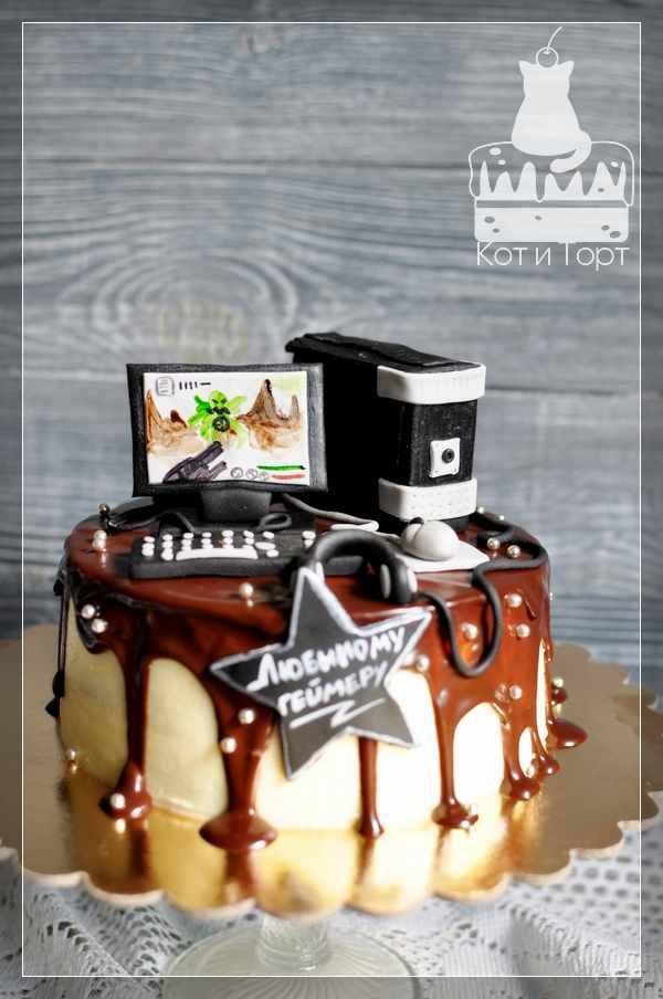 Торт с компьютером для геймера