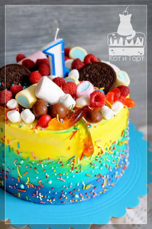 Радужный разноцветный торт