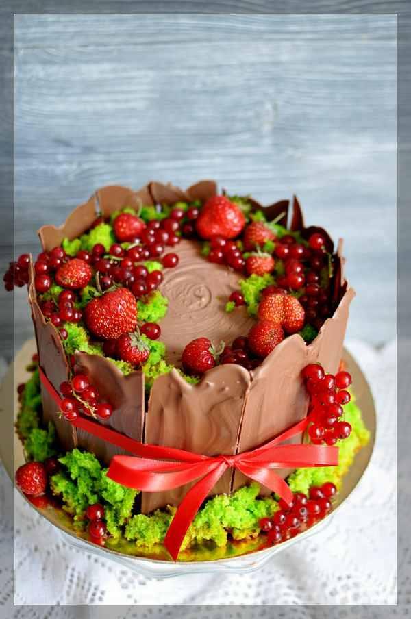 Торт-пень со мхом и ягодами