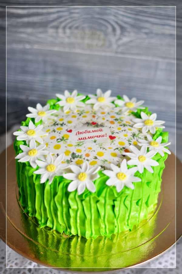 Зелёный торт с ромашками для мамы