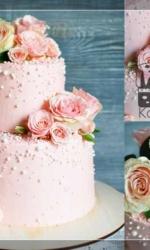 Двухъярусный розовый свадебный торт