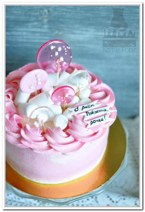 Бело-розовый торт для дочки
