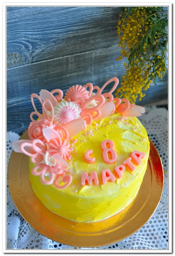 Жёлтый торт на 8 марта