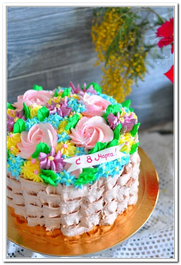 Торт с цветами на 8 марта