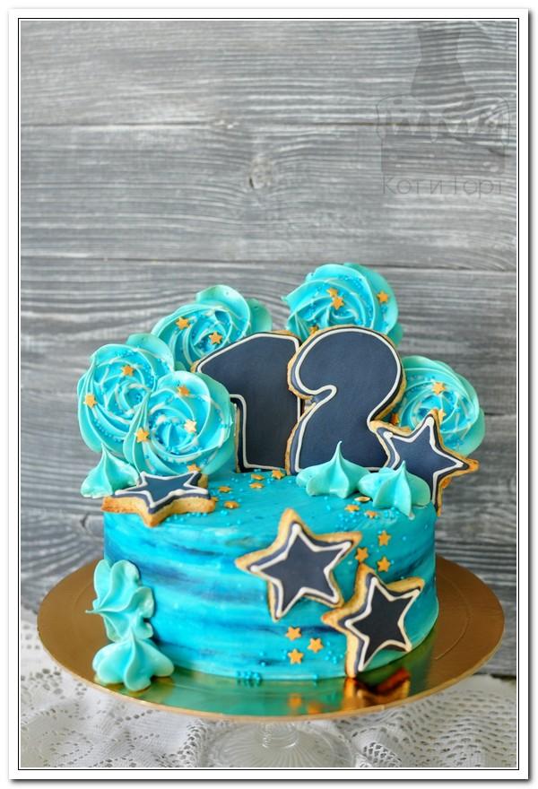 Бирюзовый торт на 12-летие