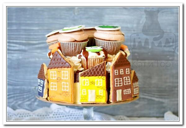 Торт с домиками