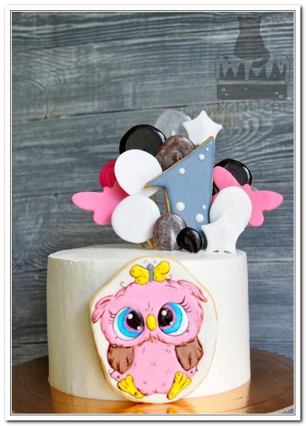 Торт с совёнком на 1 год